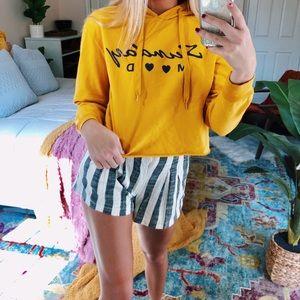 Tops - [sunday mood] mustard cropped hoodie